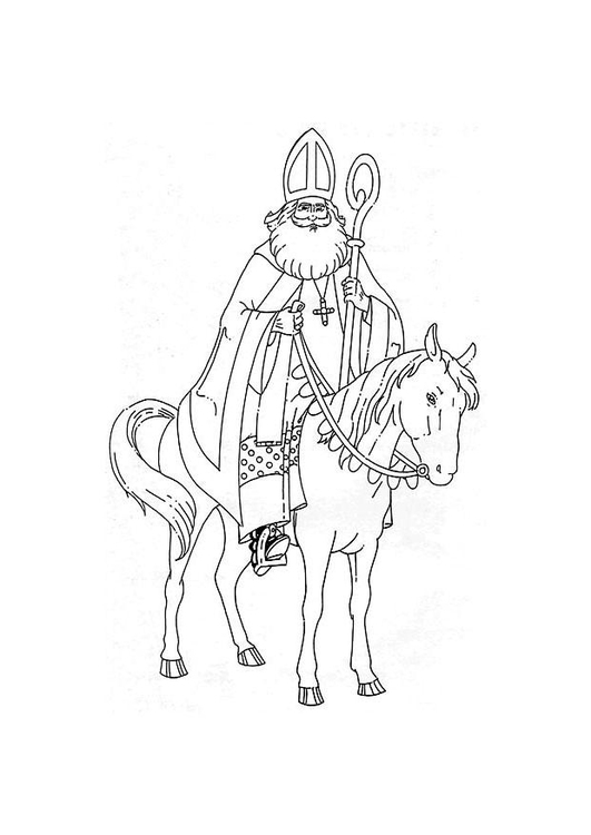 Coloring page Saint Nicholas on his horse