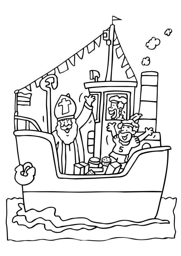 Kleurplaat Paard In De Wie Coloring Page Saint Nicholas On His Boat Free Printable
