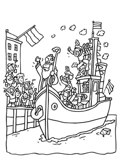 Coloring page Saint Nicholas on his boat