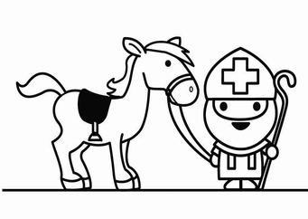 Coloring page Saint Nicholas with horse