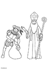 Coloring pages Saint Nicolas and Black Peter