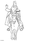 Coloring page Saint Nicolas on his horse