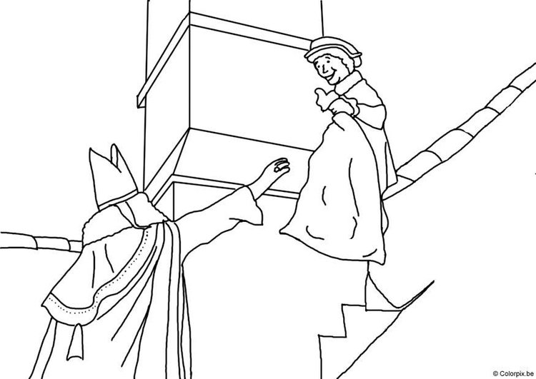 Coloring page Saint Nicolas on the roof