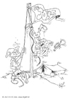 Coloring page salute to the flag