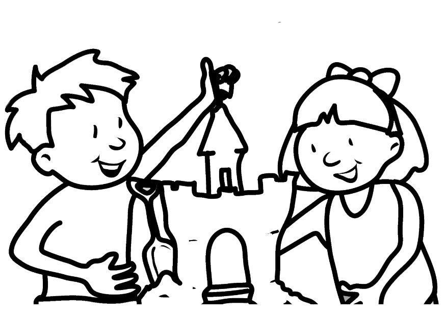 download large image - Sand Castle Coloring Page