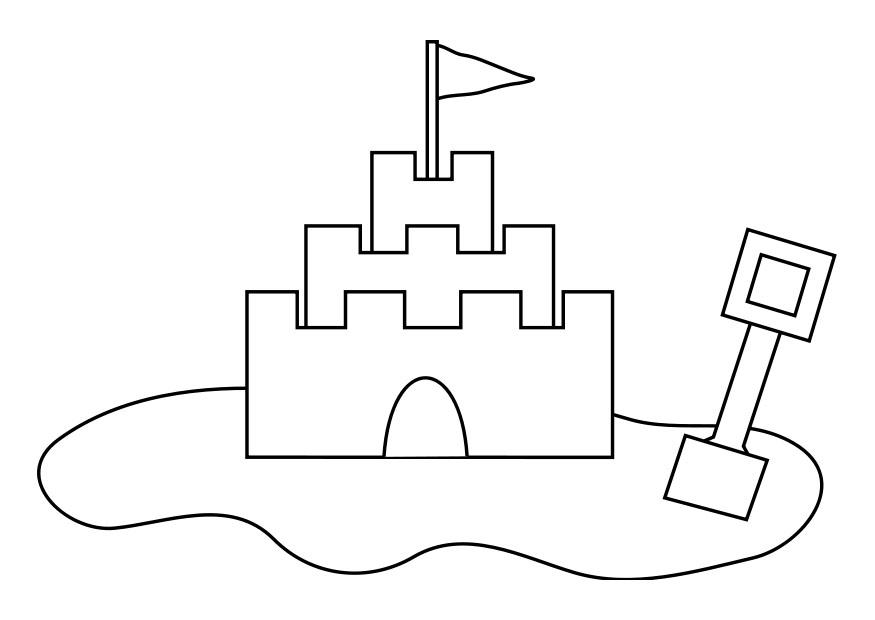 Sandburg malen  Coloring page sandcastle - img 19257.