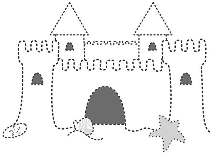 coloring page sandcastle - Sand Castle Coloring Page