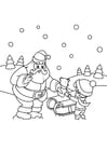 Coloring page santa claus gives parcel