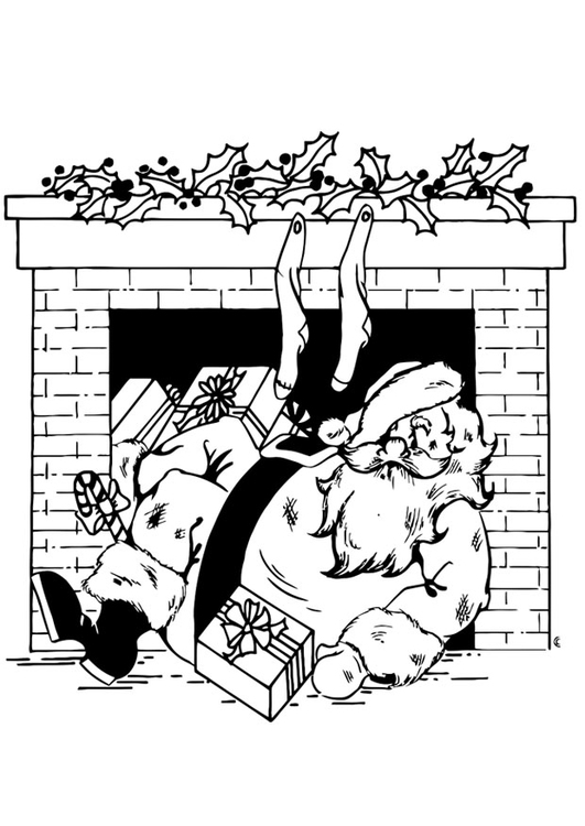 Coloring page Santa Claus in fireplace