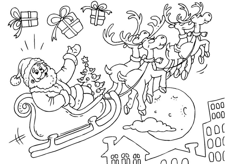 coloring page santa claus in sled - Santa Claus Sleigh Coloring Pages