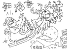 Coloring page Santa Claus in sled