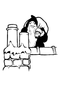 Coloring page santa claus on the roof