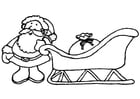 Coloring page Santa Claus with sleigh