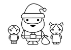 Coloring page Santa Claus with children