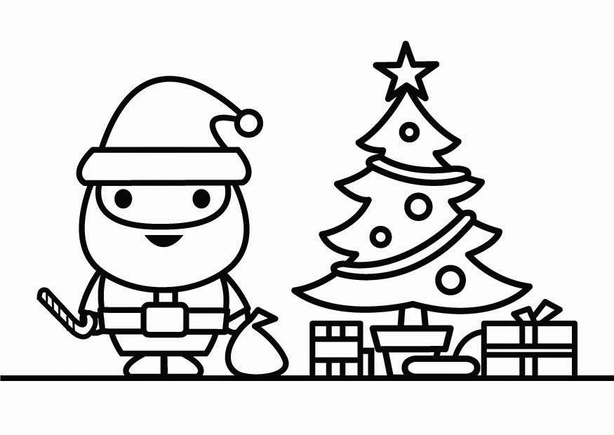 Coloring page Santa Claus with christmas tree  img 26427