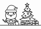 Coloring page Santa Claus with christmas tree
