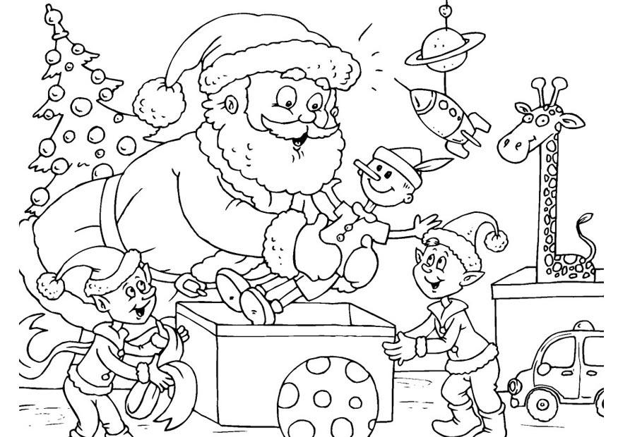 coloring page santa claus with elves img 23389