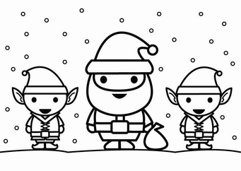 Coloring page Santa Claus with elves