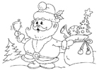 Coloring page Santa Claus with gifts