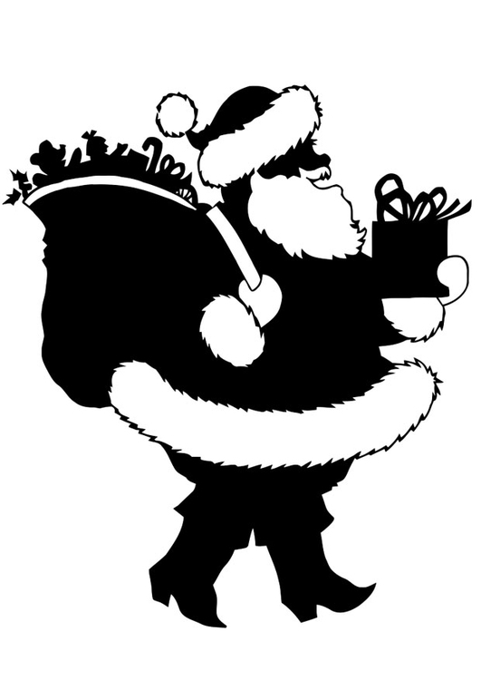 Coloring page Santa Claus with presents