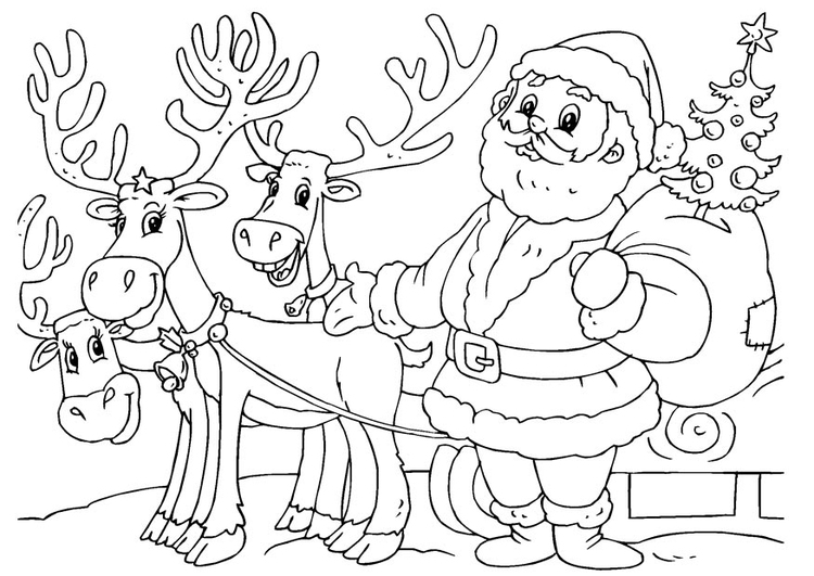 Coloring page Santa Claus with reindeer