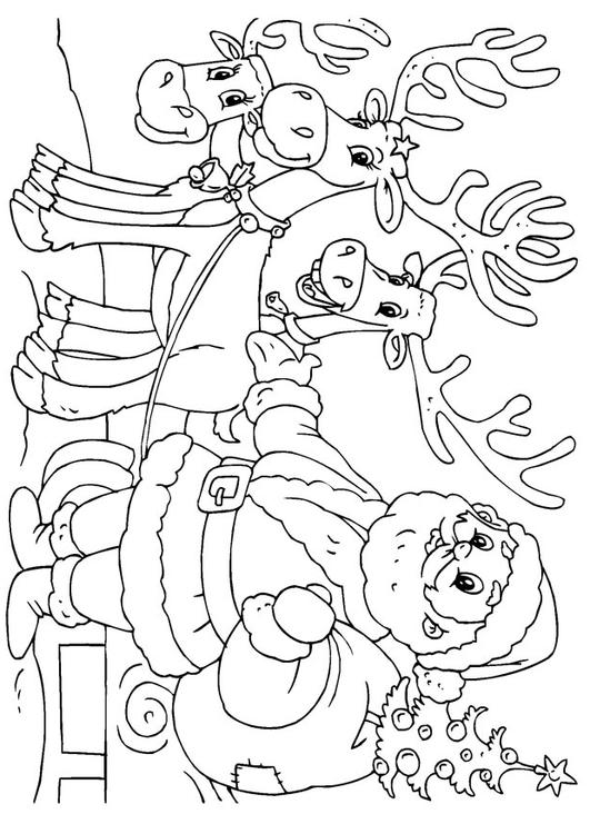 Coloring Page Santa Claus With Reindeer Img 23062