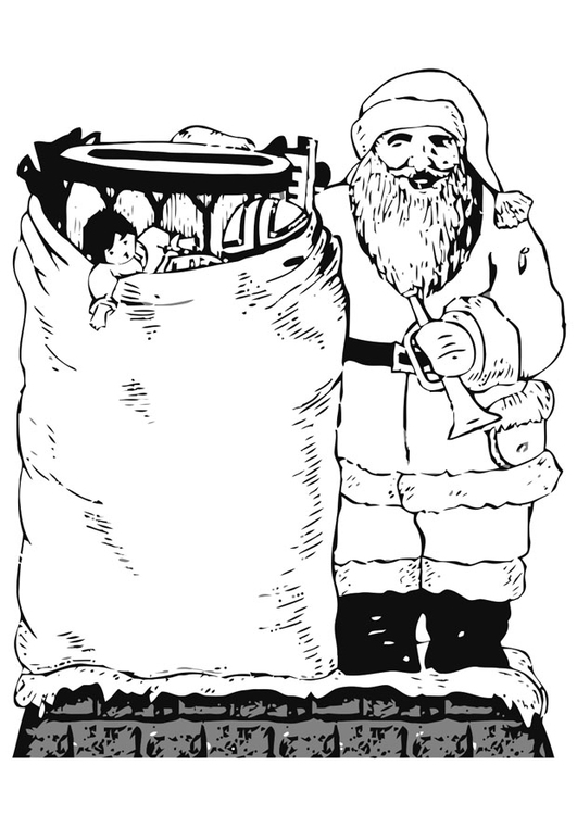Coloring page Santa Claus with toys