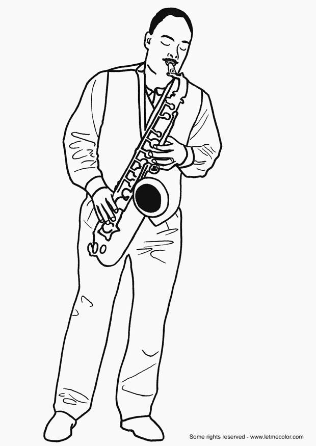 coloring page saxophonist  free printable coloring pages