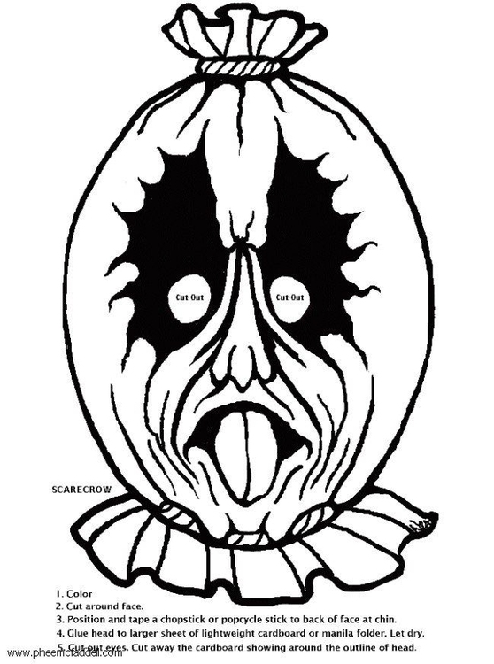 Coloring page scarecrow mask
