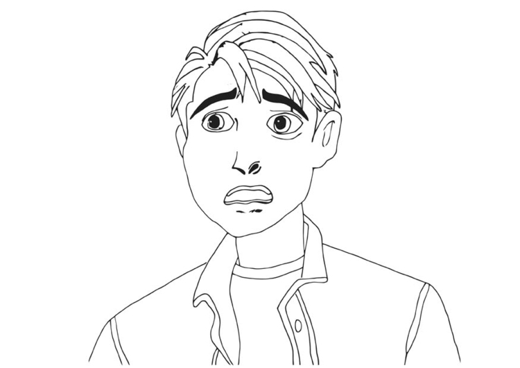 Coloring page scared