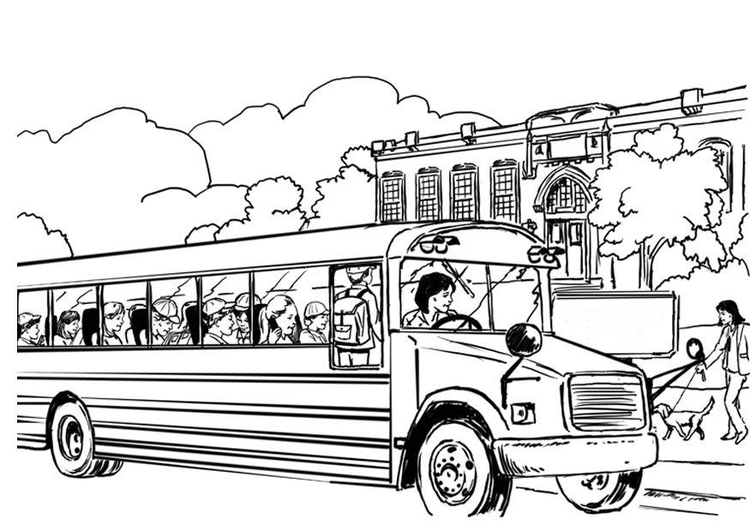 Coloring page school bus - img 8053.