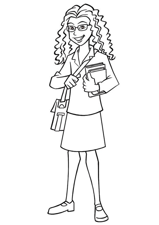 Coloring page school girl