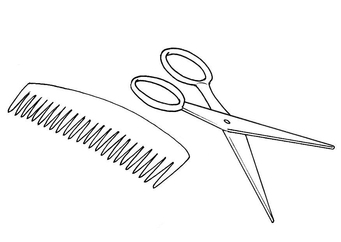 Coloring page scissors + comb