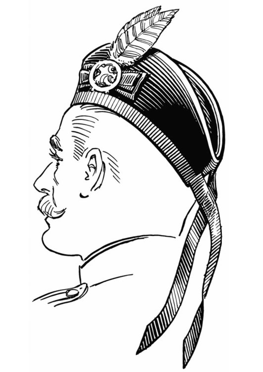 Coloring page Scottish cap - Glengarry