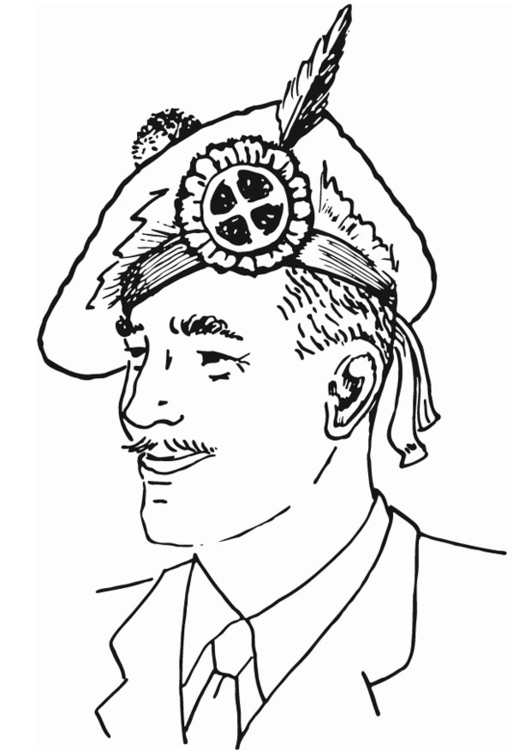 Coloring page Scottish hat
