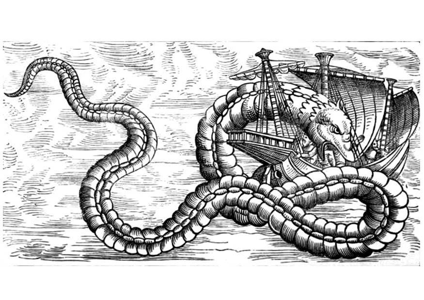 Coloring page sea dragon attacks ship - img 11283.