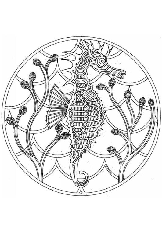 Coloring Page Sea Horse Mandala