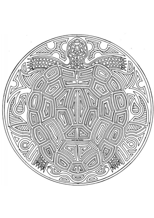 Coloring page sea turtle mandala