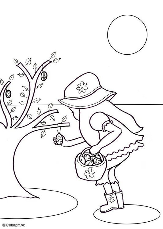 Coloring page searching Easter eggs