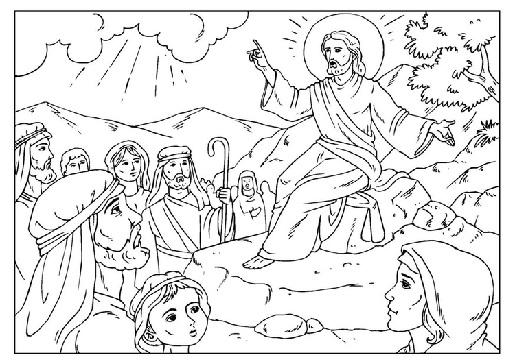 Coloring page sermon on the mount