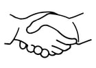 Coloring page shake hands