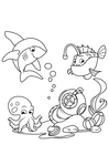Coloring page shark with monkfish and squid in the sea