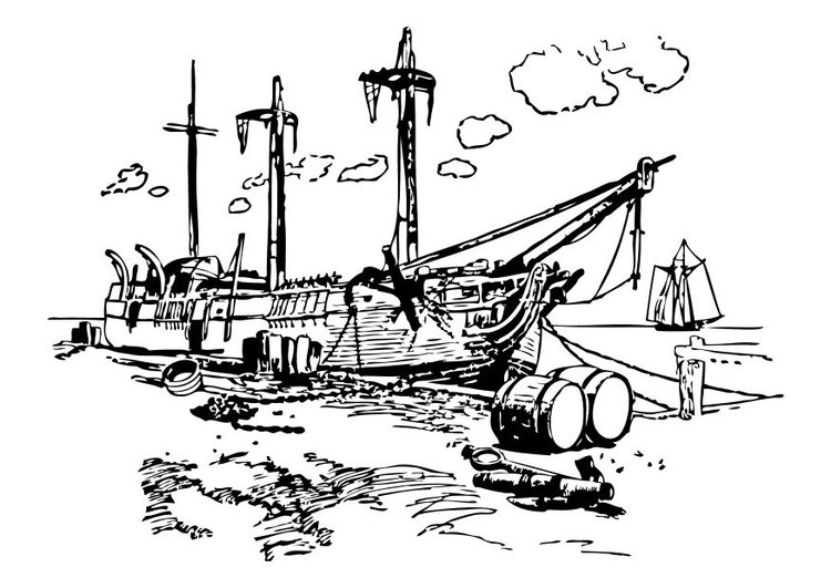 Coloring page ship in port