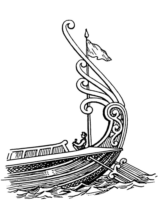 Coloring page ship - stern with rudder