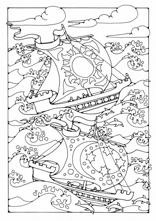 Coloring page Ships in the storm
