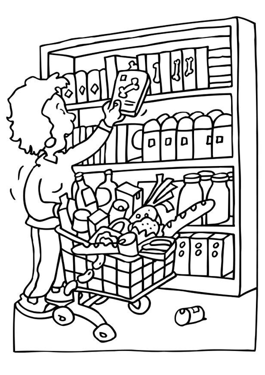 Coloring page shopping