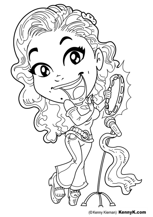 Coloring page singer