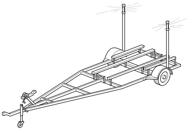 Coloring page single-axle trailer for boat