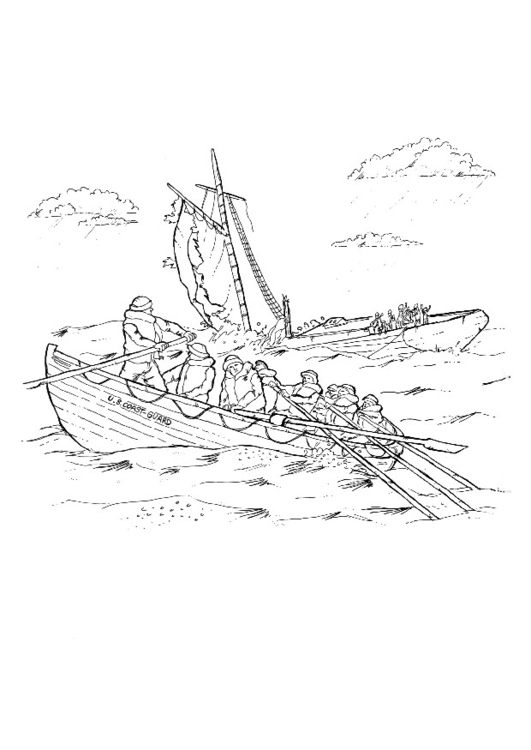 Coloring page sinking ship