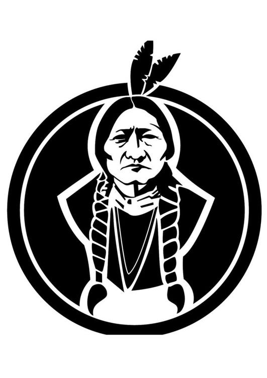 Coloring page Sitting Bull
